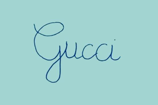 Logo Gucci scritto a mano